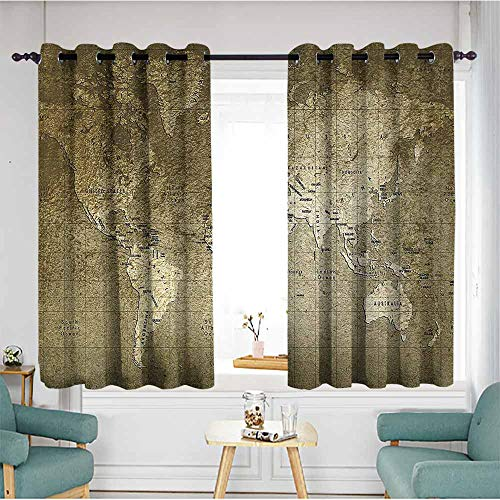 (duommhome Antique Drapes for LivingRoom Old World Map with Great Texture Nostalgic Ancient Plan Atlas Trace of Life World Home Garden Bedroom Outdoor Indoor Wall Decorations 72