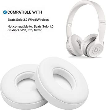 Amazon Com White Replacement Earpads Agptek 2 Pieces Foam Ear Pad Cushion Compatible With Beats Solo 2 Wireless Headphone Home Audio Theater