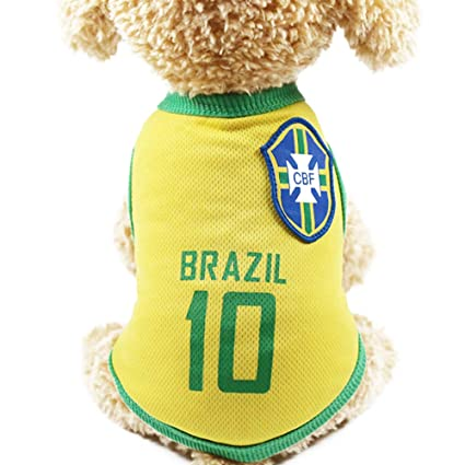9b6612d9fb2 Domccy Brazilian Football Team 10 Jersey Pet Clothes Pet Clothing Pet Vests  with The Countries Logo