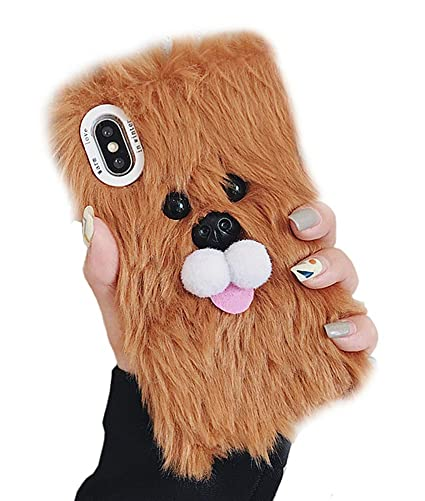 buy online 0016f aac2c UnnFiko Winter Soft Warm Plush Case Compatible with iPhone 6 Plus/iPhone 6s  Plus, Cute Lion Dog Fuzzy Animal Fluffy Fur Handmade Case Covers for Girls  ...