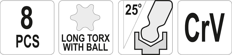 T9-T40/mm Extr/émit/és /à boule Yt-05123 Yato Lot de cl/és Allen Torx 8/pcs
