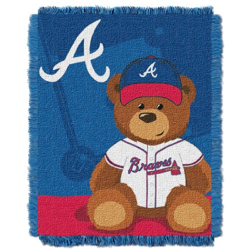 The Northwest Company MLB Atlanta Braves Field Bear Woven Jacquard Baby Throw, 36