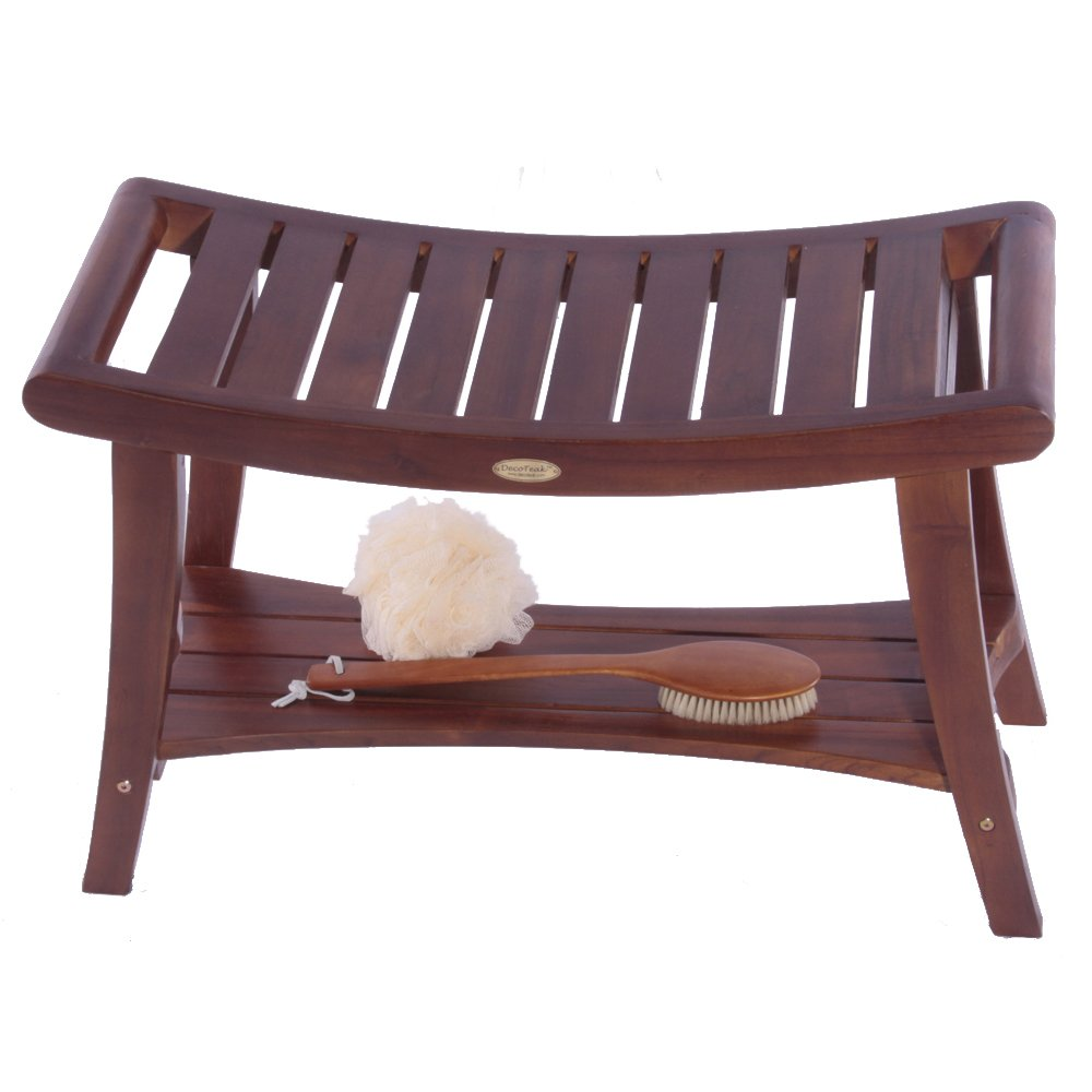 DecoTeak Harmony 30'' Teak Shower Bench With Shelf And LiftAide Arms