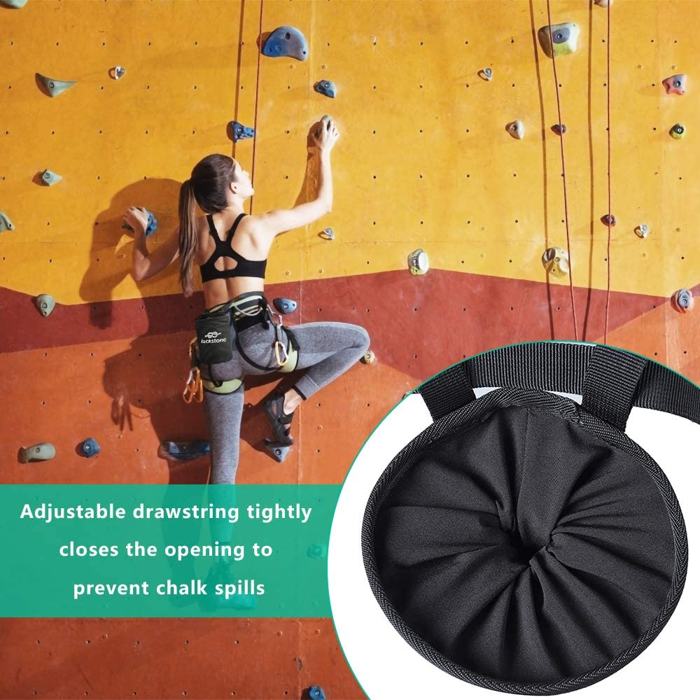 welltop Bolsa de Tiza de Escalada, Bolsa de magnesio Impermeable de ChalkBag de Boulder con cinturón para la Escalada en Roca, Bouldering, ...