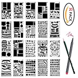 20 Pcs Bullet Journal Stencil Set Plastic Template DIY Drawing Planner for Diary Scrapbook Craft Notebook with Zip Cas