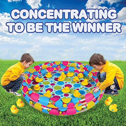 Gamie Duck Pond Matching Game Includes 20 Ducks with Numbers and Shapes and 3 Inch x 6 Inch Inflatable Pool - Memory Game - Water Outdoor Game for Children, Preschoolers, Birthday Party, Carnival