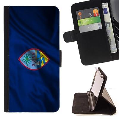 FJCases Guam Territories Bandera Ondeante Carcasa Funda Billetera con Ranuras para Tarjetas y Soporte Plegable para HTC U11