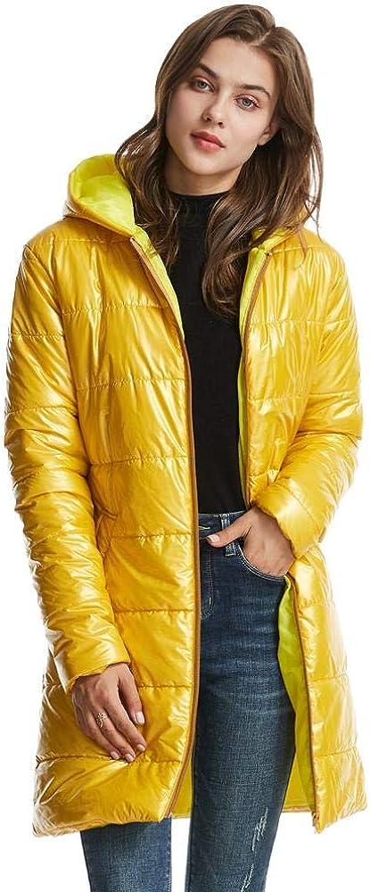 XJXDWY Longue Section Mme À Capuche Doudoune Automne Et Hiver Femme Manteau Vêtements Chauds Anime Rayures Imprimées (XXS-4XL) Golden Yellow