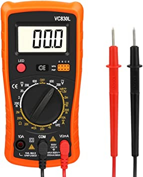 Digital Multimeter Zorara Multimeter Ac Dc Voltmeter Dc Strom Widerstand Transistor Diode Durchgangsprüfer Spannungsprüfer Stromprüfer Mit Hintergrundbeleuchtung Lcd Display Orange Baumarkt