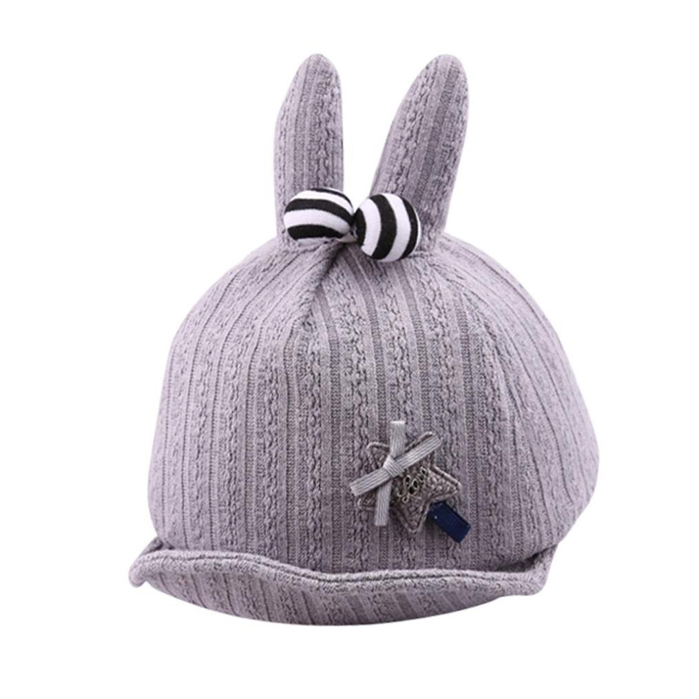Yeefant 1 Pcs Cute Baby Boys Girls Star Rabbit Ears Soft Brim Along Flanged Hat Hat Peak Cap,Head Circumference 16.9-18.8 Inch,Gray