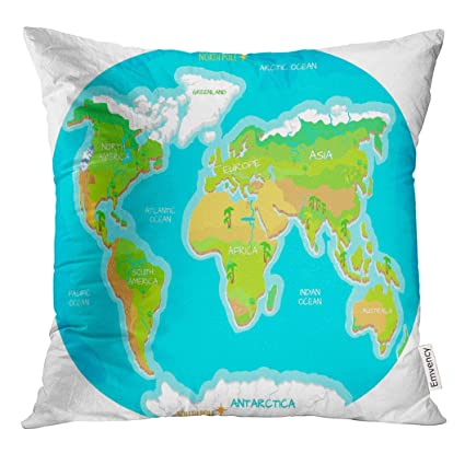 Amazon.com: Golee Throw Pillow Cover The World Geographical Map ...