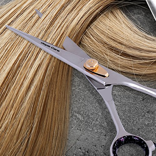 Professional Barber/Salon Razor Edge Hair Cutting Scissors / Shears (6 ½ Inch, Forged) with Fine Adjustable Tension Screw - Detachable Finger Rest - Japanese Stainless Steel - by Utopia Care