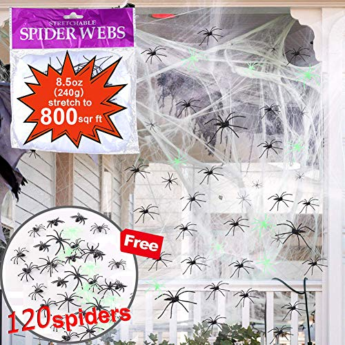 Halloween Super Stretch Spider Web (800 Square Feet) Spider Webbing Spooky Cobwebs with 120 Fake Spiders Halloween Haunted House Indoor & Outdoor Decorations
