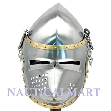 Medieval hounskull Pigface bacinete 18 calibre casco Armor histórica funcional réplica por Nauticalmart