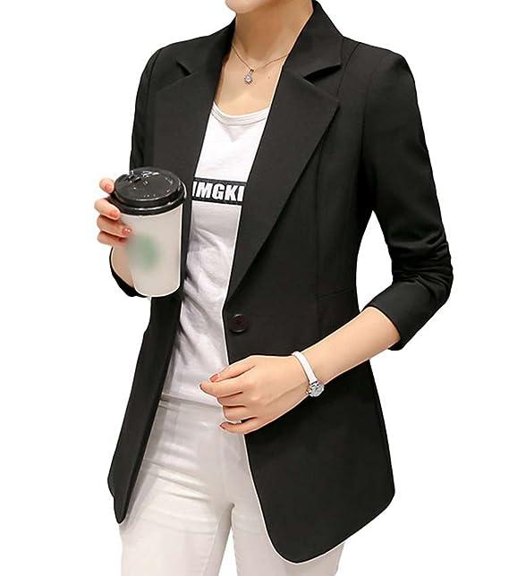 buy online 6cb0f cc90e YiLianDa Donne Eleganti Vintage a Maniche Lunghe Blazer Giacca Corta