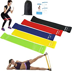 Resistance Bands Pull Up Assist Bands, Set of 5 Skin-Friendly Powerlifting Mobility Band with 5 Different Resistance Levels Loop Bands Ideal for Workout,Yoga,Physical Therapy,E-Guide,Pilates,Rehab