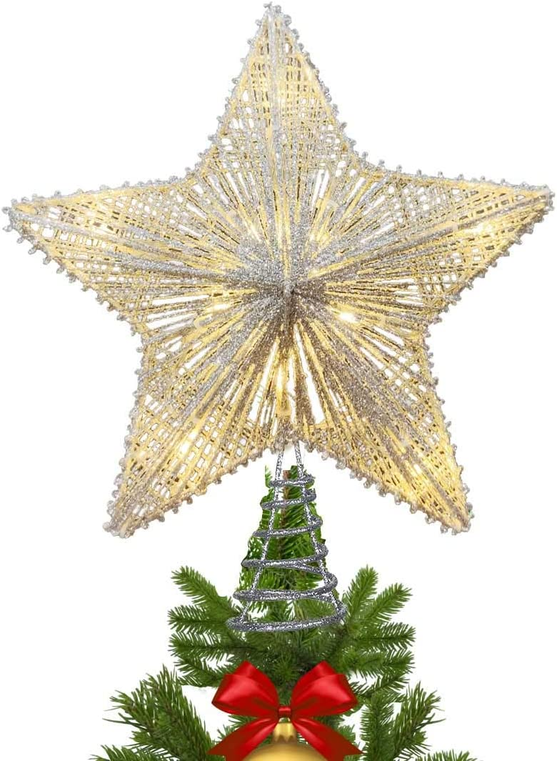 Amazon Com Maoyue Christmas Tree Topper Lighted Star Tree Topper With 10 Led Lights Sliver Glittered Christmas Tree Decorations For Indoor Home Décor Home Kitchen