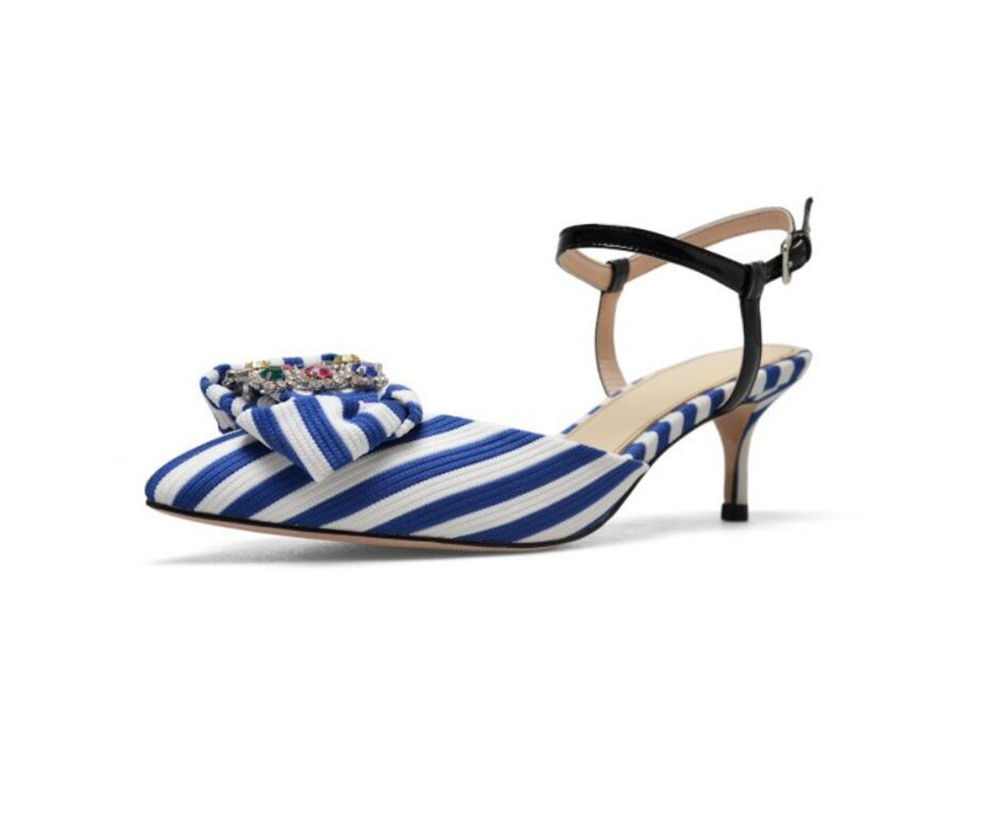 Zapatos de Mujer Summer Comfort Sandalias Zapatos para Caminar Tacón de Aguja Bowknot Punta Estrecha para Black Blue 34 EU