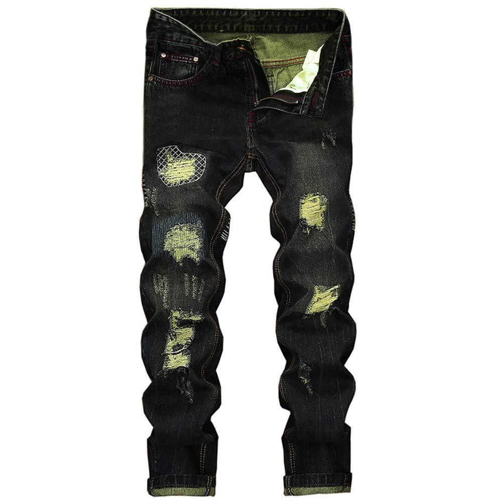 Fashion Jeans Pants,Men's Vintage Hole Jeans Denim Folds Wash Work Frayed Printed Zipper Basic Pants