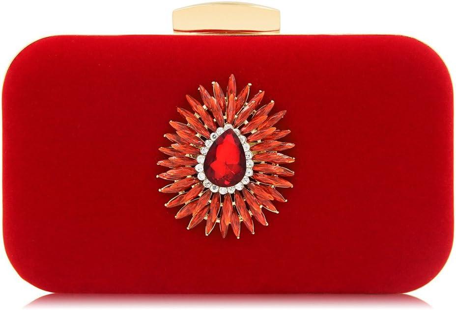 YaGFeng Bolso De Noche Las Mujeres Banquetes Cosméticos Diamantes Decorar Bolso De Noche Nupcial De La Boda del Monedero (Color : Blue) Red