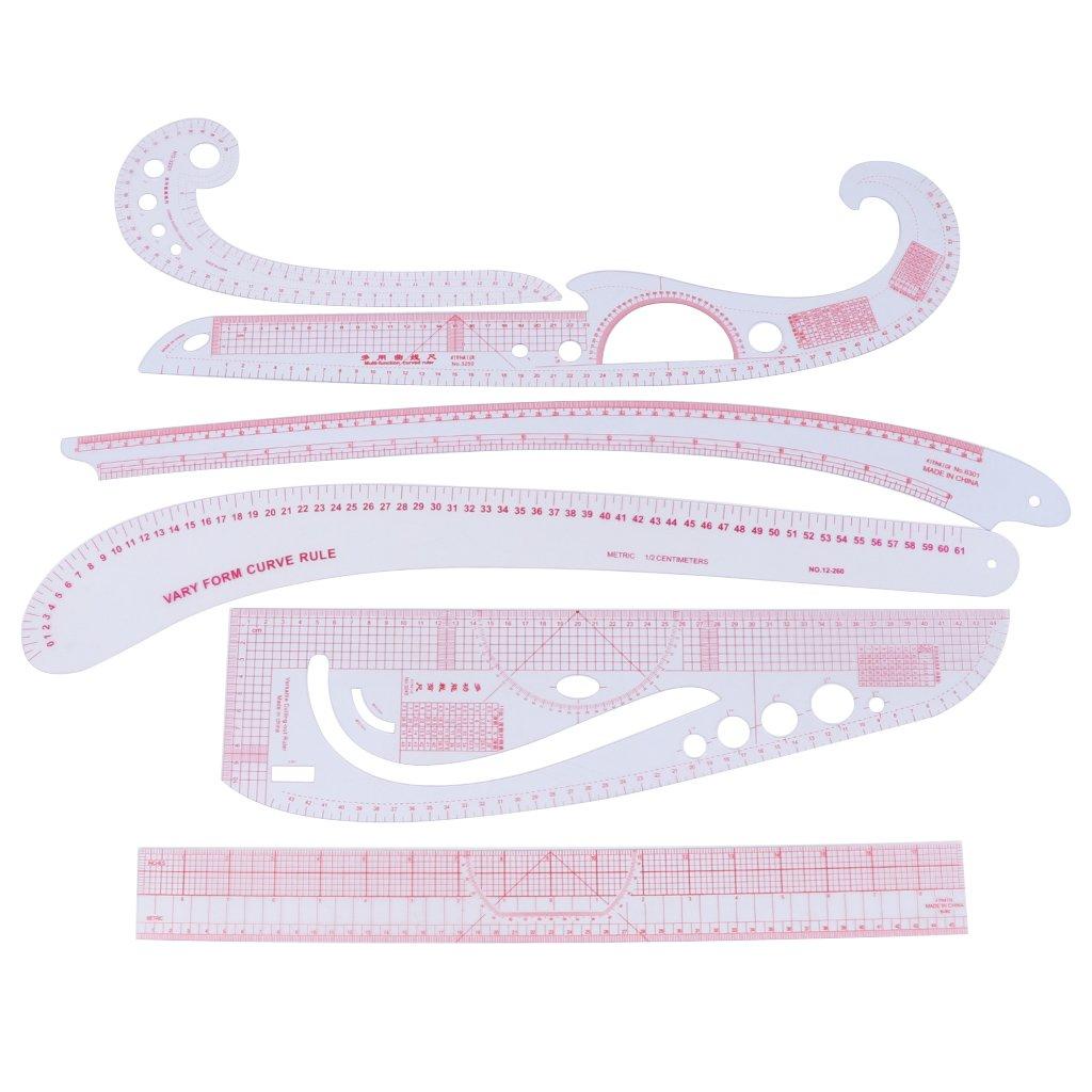 Padory Sewing Dressmaking Set Kit Sew French Curve Metric Ruler Measure 6pcs Set 2#