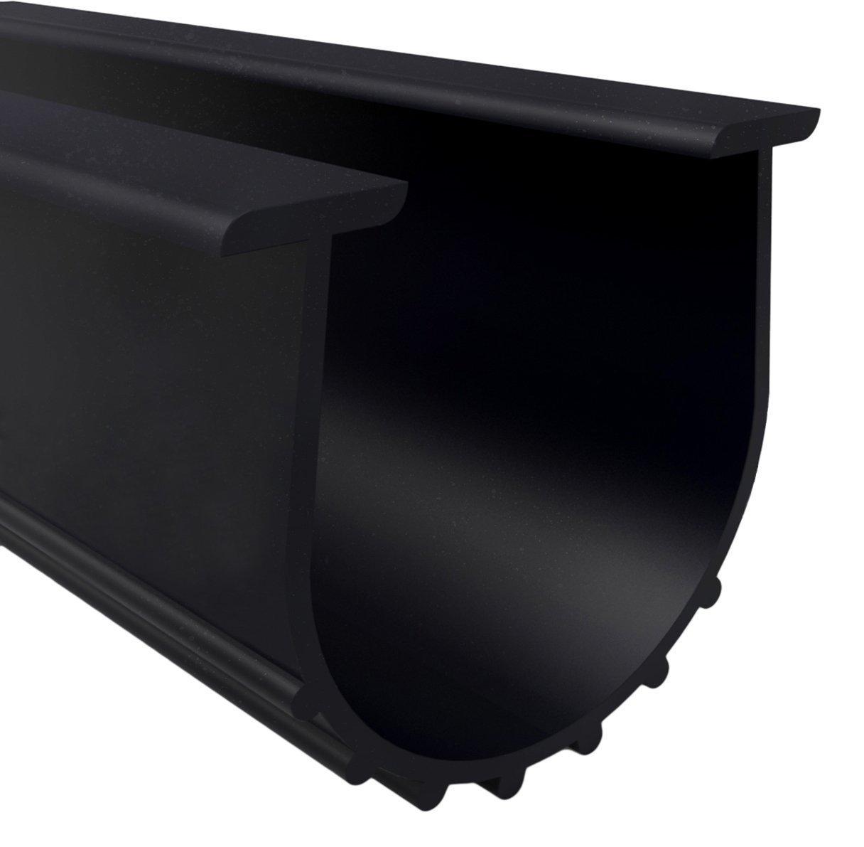 "Loobani Garage Door Bottom Weather Stripping Rubber Seal Strip Replacement, 5/16"" T Ends, 3 3/4"" Width X 20 Feet Lenth (Black)"