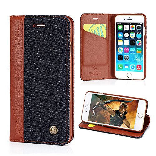 Leather Spine (iPhone 6 Case, Lensun Denim with Genuine Leather Spine Slim Flip Case Cover for Apple iPhone 6 / 6S 4.7