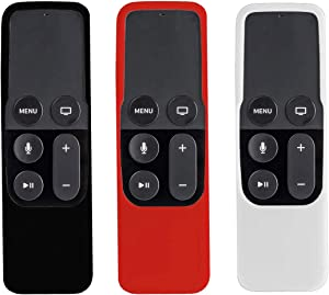 3Pack Remote Case Compatible with Apple TV 4K 5th/4th Gen Remote, SYMOTOP Shock Proof Silicone Remote Cover Case Compatible with Apple TV 4K 4th 5th Generation Siri Remote Controller -Black Red White