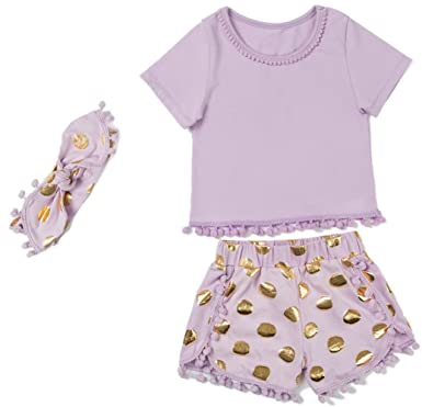 74206efe4b76 Messy Code Girls outfit Purple T - shirt Purple Gold Shorts Toddlers Gold  Dot Pompom Clothing