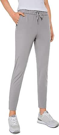 CRZ YOGA Women's Stretch Lounge Sweatpants Travel Ankle Drawstring 7/8 Athletic Training Track Pants
