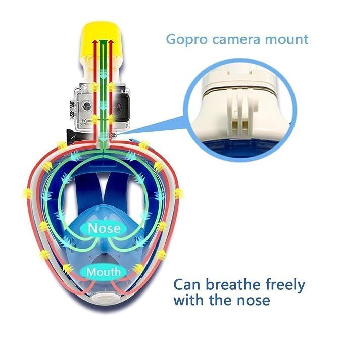 ... con Gomas Ajustables para Toda la Cabeza O Cara, con Tubo Respirador Snorkel Incorporado, Soporte Cámara Deportiva y Gopro, Color Azul S/M: Amazon.es: ...