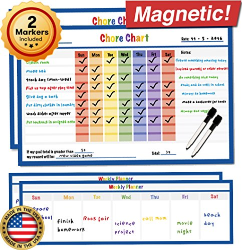 "Dry Erase Magnetic Chore Chart - 17"" x 11"" - Refrigerator Behavior Reward Incentive Magnet - Fridge Responsibility Charts for Kids Chores - Reusable Home Routine Toddler Child Calendar List (Blue)"