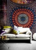 Hippie Mandala Bohemian Tapestry Psychedelic Cotton Intricate Floral Designs Indian Traditional Bedspread Magical Thinking Twin Tapestry