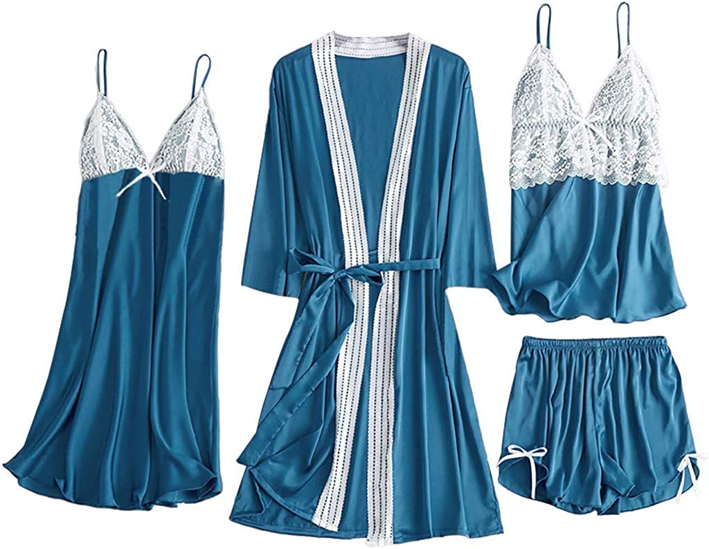 HebeTop 5Pcs Sexy Pajamas for Women Silky Sets Silk Satins Lace Sleepwear Black Strap Dress Robe Shorts & Pants Home Wear 61VEChlhfFL