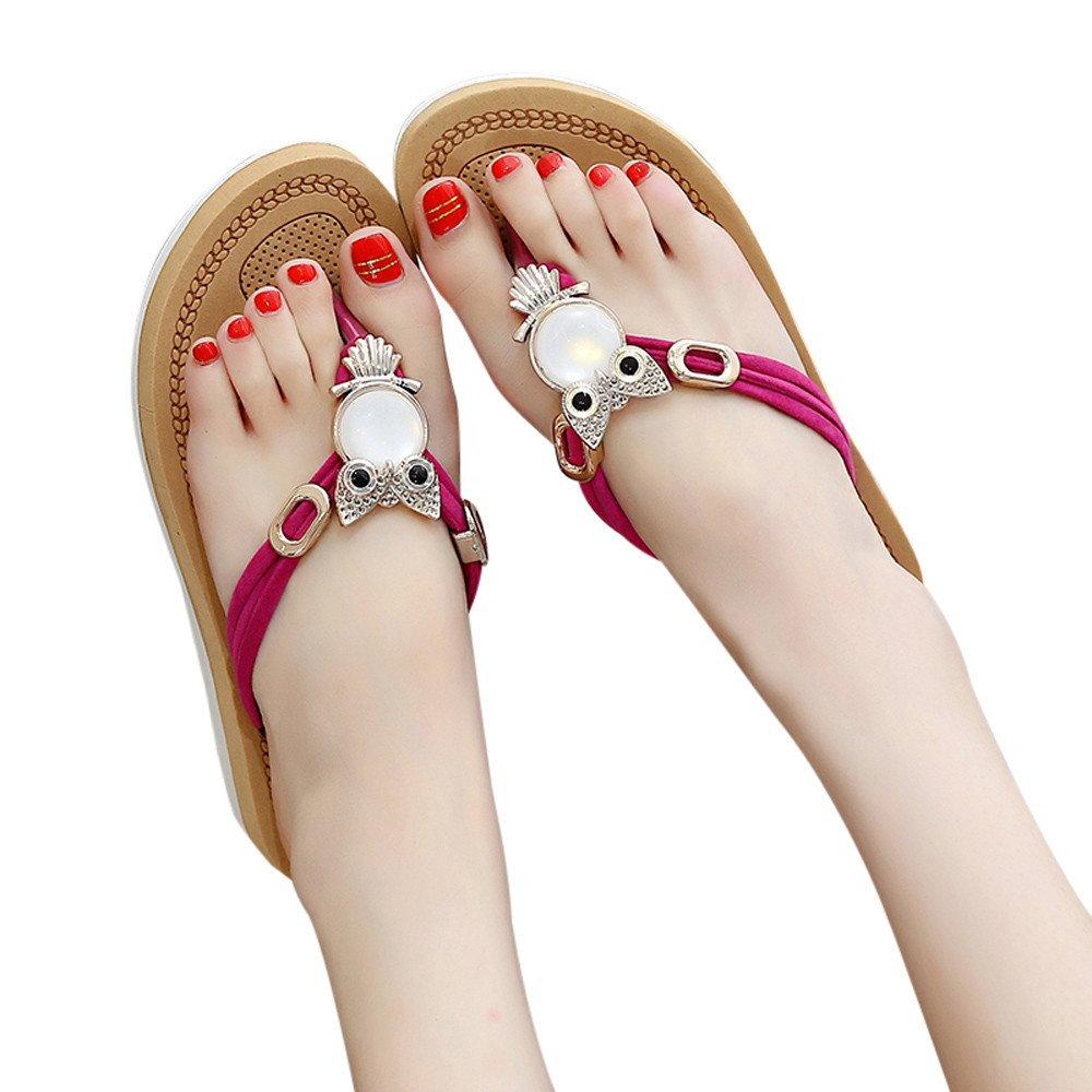 Ouneed- Damen Sandalen, Damen Sommer Frauen Bouml;hmen Crystal Bling Bling Thick Bottom Sandalen Slipper Strandschuhe Zehentrenner35|Hot Pink