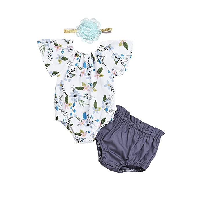 53c9a67a42a9f 3Pcs Baby Girls Floral Short Sleeve Ruffle Romper Bodysuit+ Shorts+Flower  Headband Infant Summer Outfits