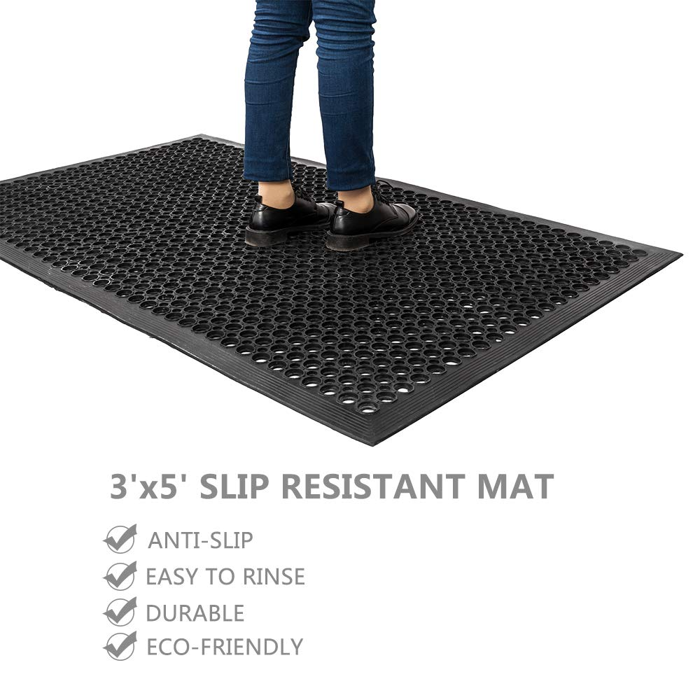 ROVSUN Rubber Floor Mat, 36''x60'' Anti-Fatigue/Non-Slip Drainage Mat, for Industrial Kitchen Restaurant Bar Bathroom, Indoor/Outdoor Cushion by ROVSUN (Image #2)