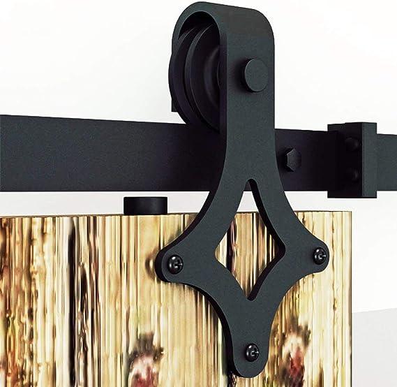 6FT / 6,6FT / 8FT / 12FT Herraje para Puerta Corredera Kit de Accesorios para Puertas Correderas Juego de Piezas de Metal Carril para Puerta Deslizante, Forma de la rueda, Negro (8ft /