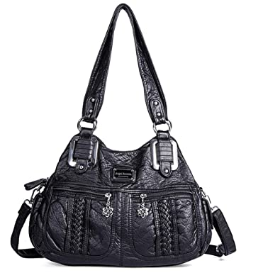 d93c912932 Amazon.com  Angel Barcelo Womens Tote Bag Handbags Leather Satchel Fashion Hobo  Shoulder Bags with Removable Strap Black  Shoes