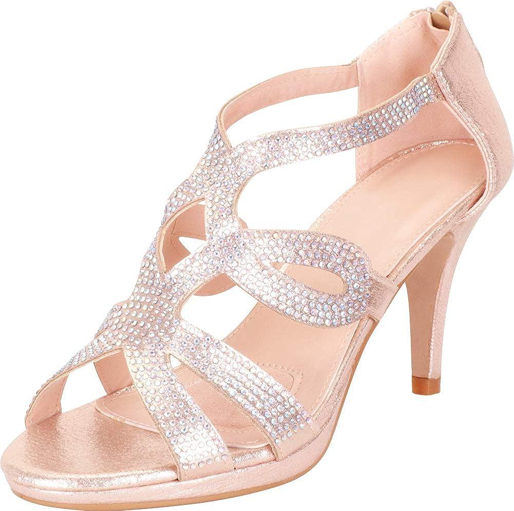 Champagne Glitter Cambridge Select Women's Cutout Crystal Rhinestone Platform Mid Heel Dress Sandal