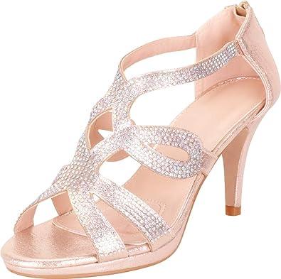 bc861670b62a Cambridge Select Women s Cutout Crystal Rhinestone Platform Mid Heel Dress  Sandal