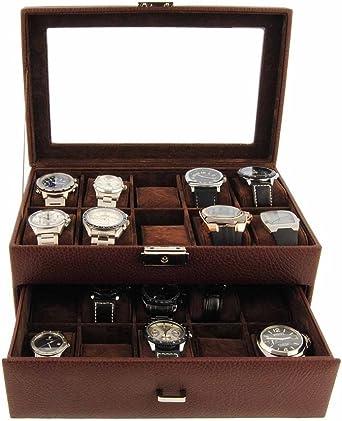 Estuche 20 relojes con 2 pisos marrón: Amazon.es: Relojes