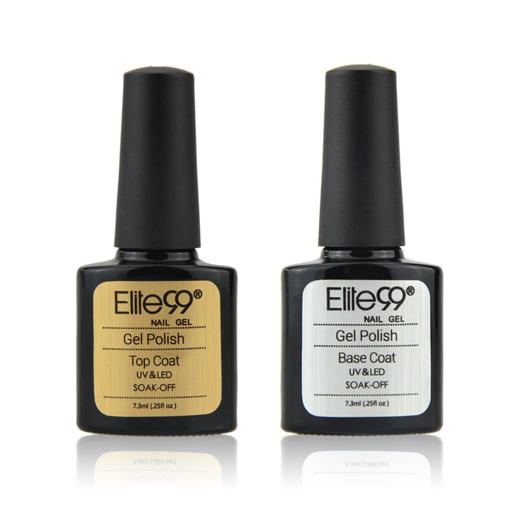 Vernis Semi permanent Elite99 Base et Top Coat Semi permanent Vernis à Ongles Gel UV LED Soakoff 2pcs Kit Manicure Pour Ongle 7.3ml Generic