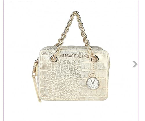 Versace - Cartera de mano con asa de cuero sintético para mujer dorado dorado: Amazon.es: Zapatos y complementos