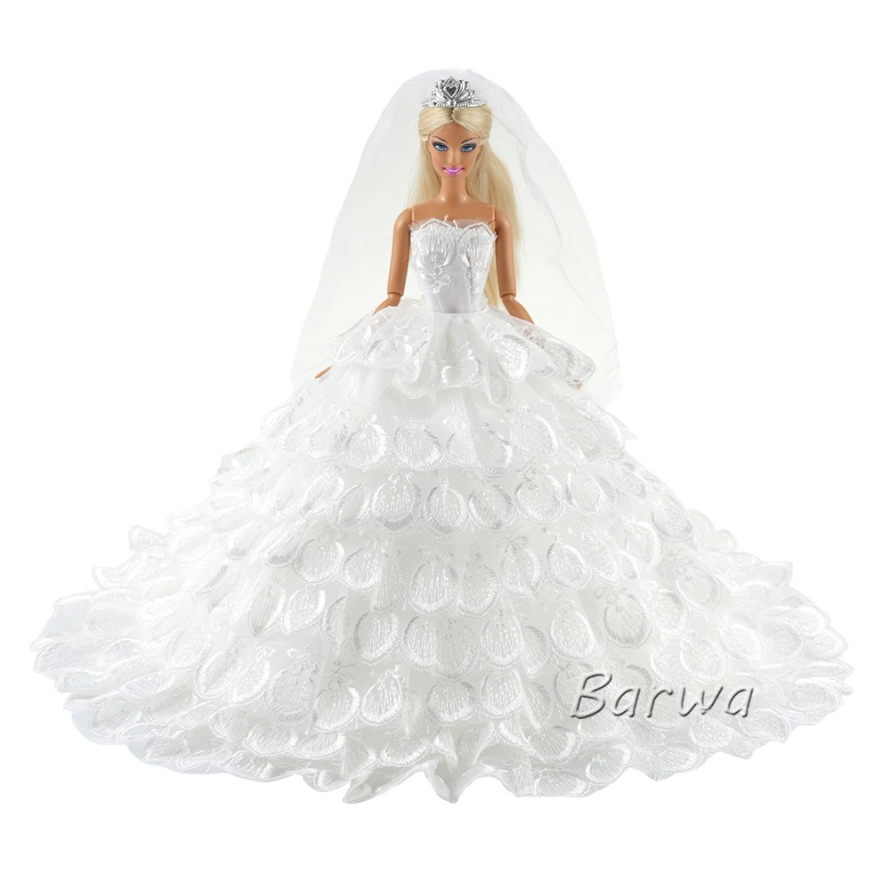 7a406fd897ddd6 Barwa Wedding Dress Princess Evening Party Luxury White Dress Gown with Veil  for Barbie Doll high