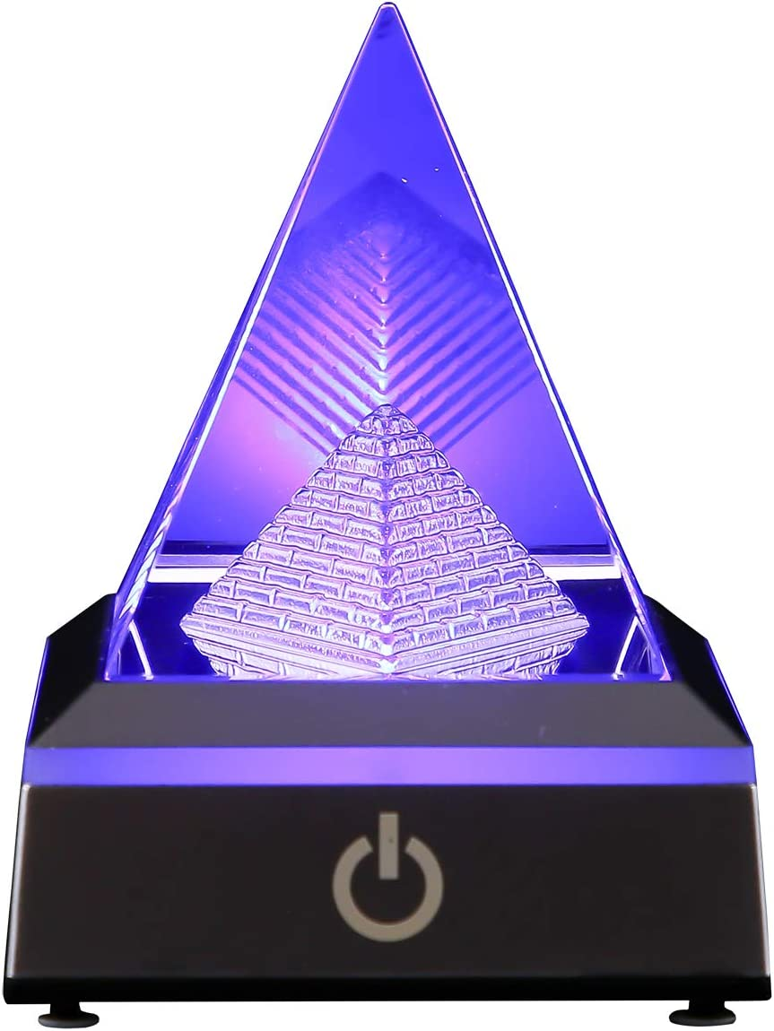 3D Pyramid Crystal Decoration with LED Lamp Stand Base, Laser Engraved Decorative Ornament in Home Office Night Light with 6 Colors