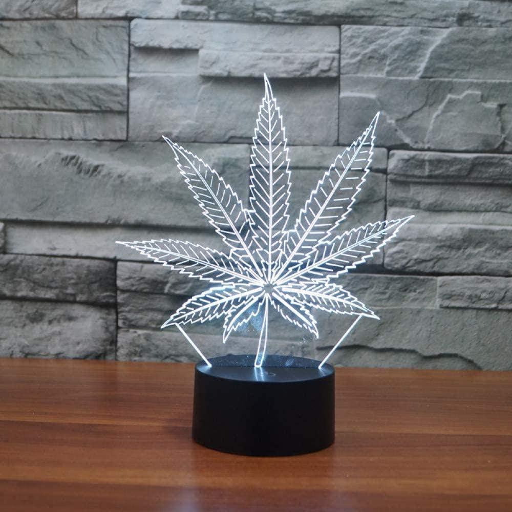 3D Lámparatáctil 7 Coloresadecuado Para Dormitorio (Regalos Para Niños Niño Pareja Niña) Navidad Día De San Valentín Viernes Negro Halloween-Hoja De Cannabis