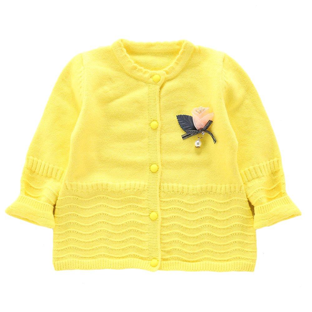 Moonnut Little Girls' Long Sleeve Knit Cardigan Sweater,4T,Yellow