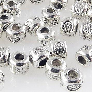 50x Metallperlen Spacer kleine Beads 4,3x4mm Metall Perlen altsilber Metallbeads