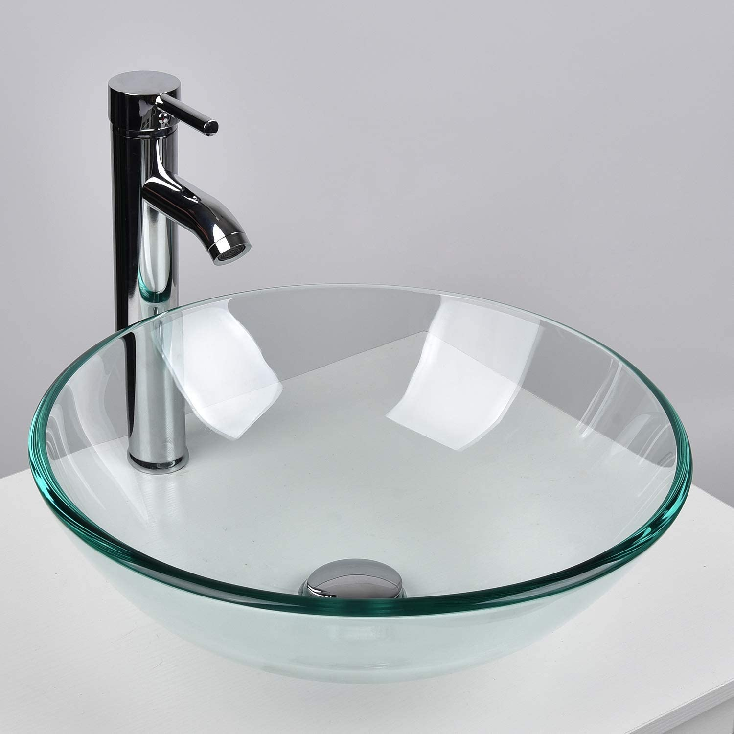 YOURLITE Tempered Glass Vessel Sink and Faucet Combo Round Countertop Basin for Bathroom Vanity Utility Sink above Counter